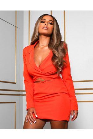 Public Desire X Amber Gill wrap detail cropped blazer dress with drop waist in orange