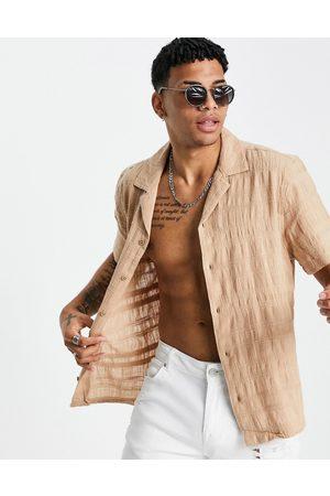 River Island Short sleeve revere shirt in beige-Neutral