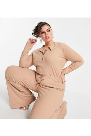 In The Style Plus X Olivia Bowen ribbed jumpsuit with collar detail in beige-Neutral