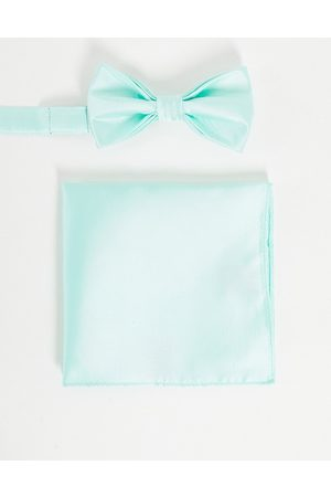 Devils Advocate Wedding plain satin bow tie and pocket square-Green