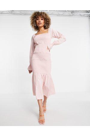 NA-KD Smocked midi dress in dusty pink