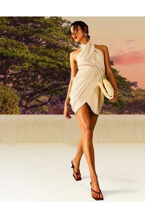ASOS DESIGN Drape detail linen halter mini dress-White