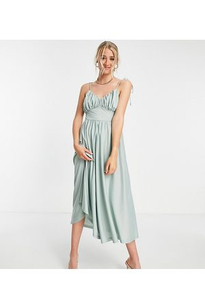 ASOS Tall ASOS DESIGN Tall spaghetti strap ruched bust midi dress in sage-Green