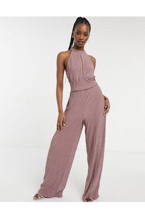 VILA Halter neck jumpsuit with wide leg in pink