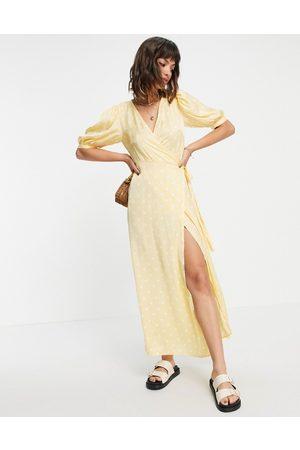 VILA Midi wrap dress in yellow with white polka dot-Multi