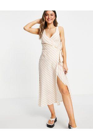 ASOS Linen wrap maxi dress in pink stripe print-Multi