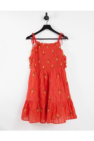 ASOS Textured shirred mini dress with floral embroidery in red