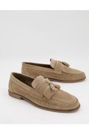 WALK LONDON Arrow woven loafers in beige suede-Neutral