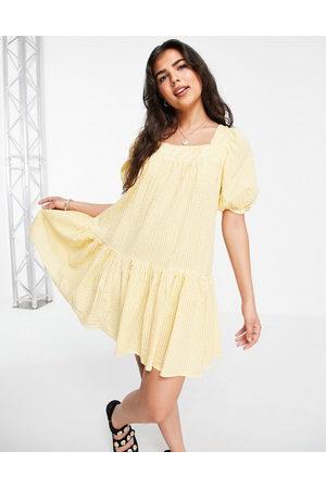 New Look Seersucker square neck tiered mini dress in yellow pattern