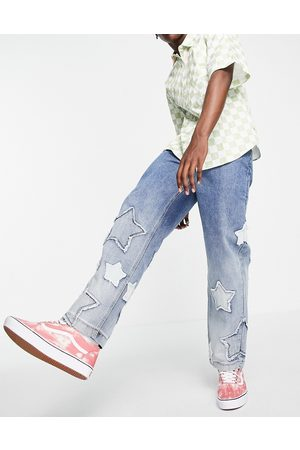 Jaded London Skate jeans in blue with star applique