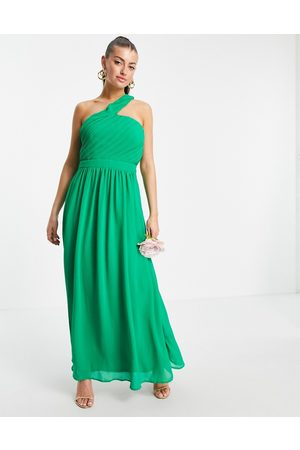 Vila Bridesmaid maxi dress with asymmetric one shoulder in green-Pink