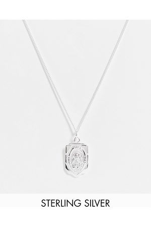 ASOS Sterling silver skinny neckchain with religious pendant in silver