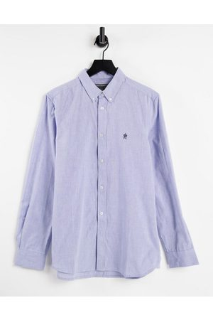 French Connection Long sleeve oxford shirt in sky blue
