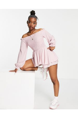 Missguided Frill detail bardot shirred playsuit in pink