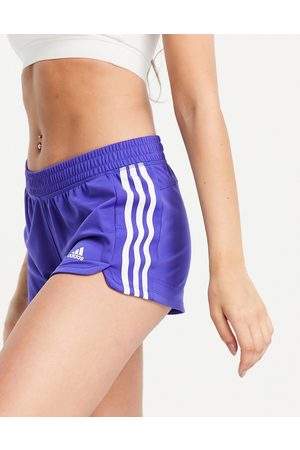 adidas Adidas Training Pacer 3 stripe knit shorts in blue