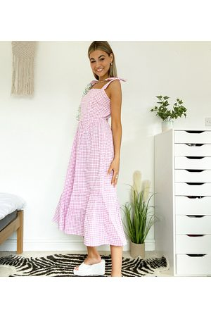 Native Youth Maxi smock dress with full skirt in gingham-Purple