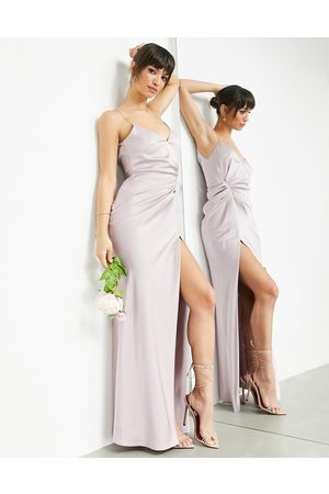 ASOS EDITION Satin cami maxi dress with drape detail in pale lavender-Purple