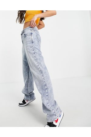 River Island 90's straight cut acid wash jeans in light blue