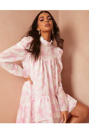 In The Style Senhora Vestidos Estampados - X Lorna Luxe graduated frill hem dress with full volume in pink floral print-Multi