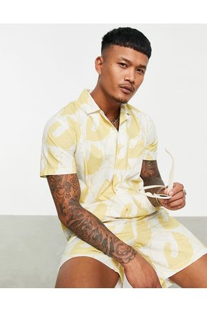 Stan Ray Revere collar shirt with dove peace print in stone-Neutral