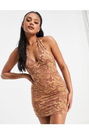 Motel Halter neck bodycon dress in marble print-Brown
