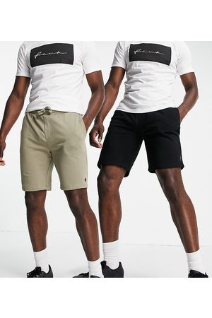 French Connection Tall 2 pack jersey shorts in black and light khaki-Multi