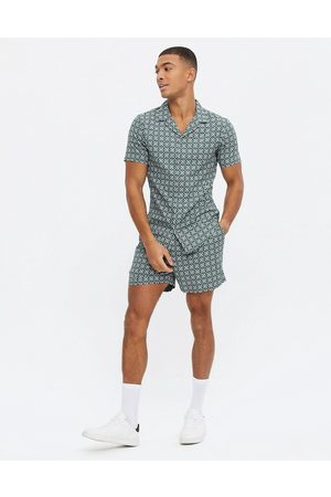 New Look Co-ord short sleeve tile print shirt in green