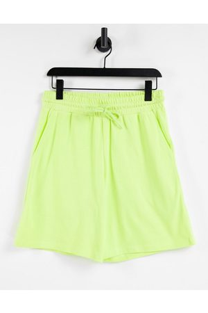 ASOS Co-ord oversized pique shorts in washed out lime-Green