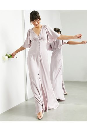 ASOS Satin flutter sleeve maxi dress with button front in pale lavender-Purple
