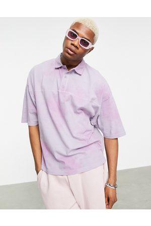 ASOS Oversized polo t-shirt in tie dye pique-Purple