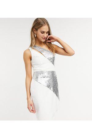 Lusso the Label Exclusive asymmetric midi dress in silver sequin and white-Multi