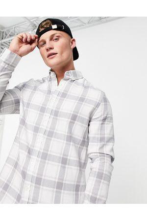 ASOS Regular fit check shirt in grey