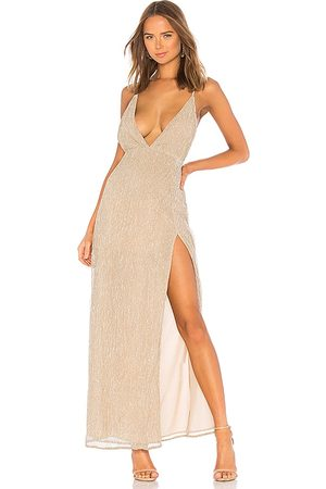 superdown Hailee High Slit Maxi Dress in - Nude. Size M (also in XS, S).