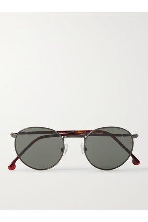 Loro Piana Homem Óculos de Sol - Weekend Round-Frame Silver-Tone Titanium and Tortoiseshell Acetate Polarised Sunglasses