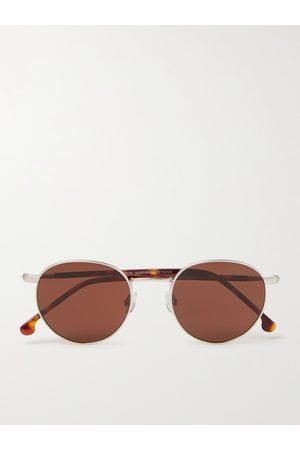 Loro Piana Weekend Round-Frame -Tone Titanium and Tortoiseshell Acetate Polarised Sunglasses