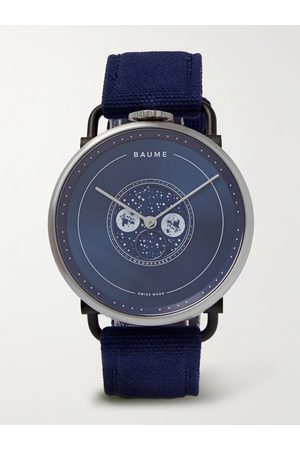 Baume & Mercier Homem Relógios - Moon-Phase 41mm PVD-Coated Stainless Steel and Cotton-Canvas Watch, Ref. No. 10637