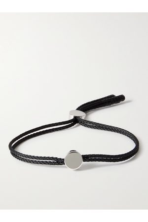 ALICE MADE THIS Homem Pulseiras - Dot Rhodium-Plated and Cord Bracelet