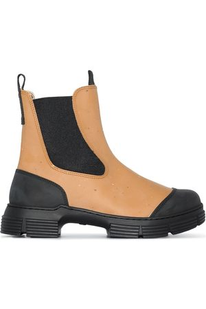 Ganni Two-tone chunky Chelsea boots