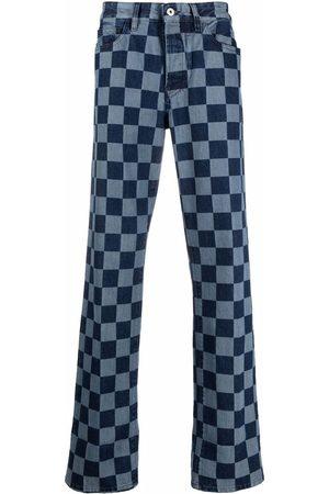 MARCELO BURLON Checkerboard-print straight-leg jeans