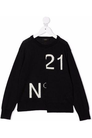 Nº21 Asymmetric intarsia logo jumper