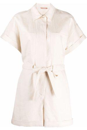 12 STOREEZ Senhora Macacões Curtos - Tied-waist linen jumpsuit