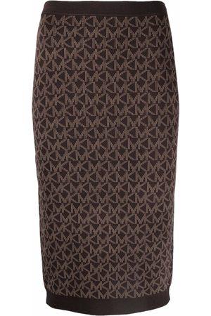 Michael Michael Kors Monogram-print knitted skirt