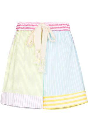 Staud Aft striped colour block shorts
