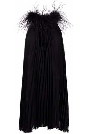 Styland Pleated feather-detail dress
