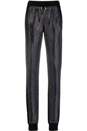 Philipp Plein Senhora Calças Justas - Crystal slim-cut track pants