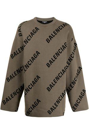Balenciaga Logo-intarsia oversized jumper