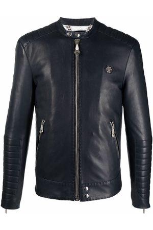Philipp Plein Embroidered leather jacket