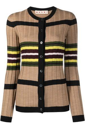 Marni Horizontal-stripe ribbed-knit cardigan