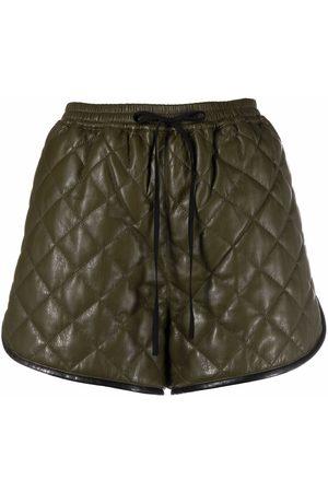 Self-Portrait Diamond-quilt drawstring-waist shorts