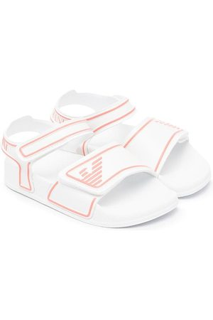 Emporio Armani Kids Touch-strap embossed logo sandals